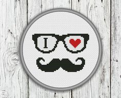 I Love Mustache Counted Cross Stitch Pattern, Hipster Mustache Cross Stitch Pattern - PDF, Instant Download