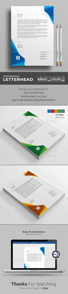 Buy Letterhead by upra on GraphicRiver. Corporate Letterhead Template with super modern and Corporate look. Corporate Letterhead page designs are very easy t. Letterhead Business, Letterhead Design, Letterhead Template, Graphic Design Branding, Typography Design, Stationery Printing, Stationery Items, Print Templates, Design Templates