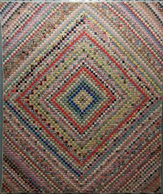 POSTAGE STAMP TRIP AROUND THE WORLD ANTIQUE QUILT