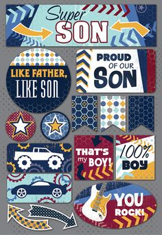 Karen Foster Design - Daughter and Son Collection - Cardstock Stickers - Super Son at Scrapbook.com $2.19