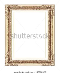 vintage frame isolated on white background, with clipping path - stock photo