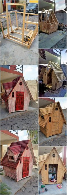 DIY Wood Pallet Garden Cabin / House: Step by Step Plan - house - Pallet Diy Wood Pallet, Pallet Shed, Pallet House, Pallets Garden, Wooden Pallets, Wooden Diy, Garden Cabins, Crooked House, Pump House