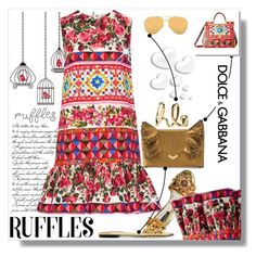 """""""Ruffles"""" by zouus ❤ liked on Polyvore featuring Dolce&Gabbana, Jimmy Choo, Chloé and Linda Farrow"""