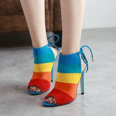 Fashion Lace-up Women Peep Toe High Slingback Sandal