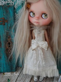"""Blythe doll OOAK outfit *Holiday romance""""  embroidered vintage style dress by marina, $75.00 USD"""