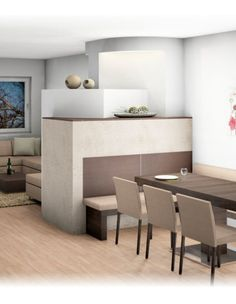 The apartment is filled with light and space, the white color used as a base visually increases the space, and accent colors bring the feeling of warmth and White Marble Kitchen, Country House Interior, Light And Space, Young Family, Little Houses, Accent Colors, Dining Bench, Kitchen Decor
