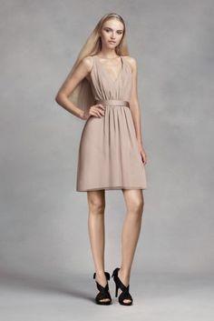 Short Chiffon Dress with Low Crisscross Back VW360339