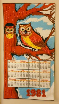 Vintage 1981 Felt Calendar with Owls. $11.00, via Etsy.
