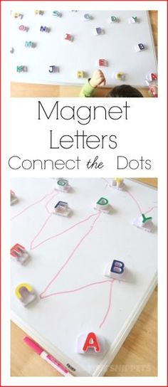 School Time Snippets: Magnet Letters Connect the Dots Learning Activity. Give your alphabet magnets new life with this fun activity! Pinned by SOS Inc. Resources. Follow all our boards at pinterest.com/sostherapy/ for therapy resources.