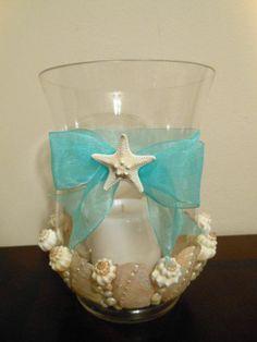 Hurricane Vase Centerpieces Ideas | Beach Decor Seashell Candleholder - Hurricane Vase ... | Wedding Ideas