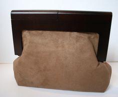 Pochette in camoscio sintetico marrone tessuto unico di sassygirl