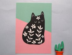 A5 Black Floral Cat print - Cat art print  This pretty A5 print features my…