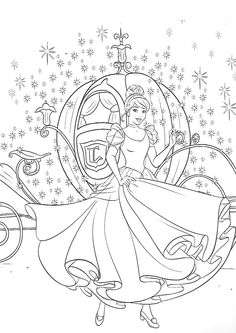 Cinderella and carriage Horse Coloring Pages, Cute Coloring Pages, Cartoon Coloring Pages, Free Printable Coloring Pages, Adult Coloring Pages, Coloring Pages For Kids, Coloring Books, Kids Coloring, Disney Coloring Sheets