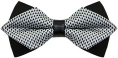 Men's Self Bow Tie Geometric Jacquard Woven Pointed Head White