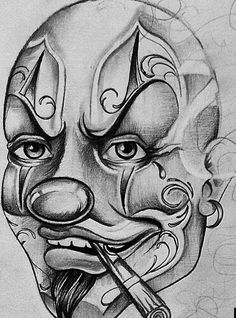 Wicked Joker Clown Chicano Arte and Graphics Card Tattoo Designs, Tattoo Design Drawings, Art Drawings, Arte Cholo, Cholo Art, Chicano Style Tattoo, Chicano Tattoos, Chicano Drawings, Clown Tattoo