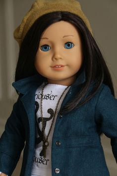 "American Girl Doll Clothes, Fits 18 "" Dolls,  ""Just a Touch of Alice""  Teal Jacket, White Graphic T, Black Cords, Mustard Hat, Key Pendant by NoodleClothing on Etsy https://www.etsy.com/listing/218221985/american-girl-doll-clothes-fits-18-dolls"