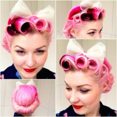 Victory Rolls with Pony Tail | tags diablo rose pin up diablo rolls victory rolls pin curls bow pink ...
