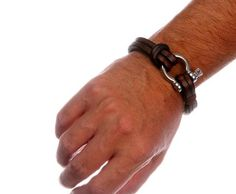 Handcrafted brown leather bracelet with a nautical grade steel omega lock clasp. Shipped in a gift-worthy natural burlap pouch. Custom designed and sized. Nautical Bracelet, Leather Jewelry, Leather Bracelets, Leather Projects, Bracelet Clasps, Leather Working, Bracelets For Men, Omega, Leather Wallet