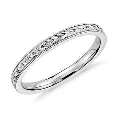 Hand Engraved Wedding Ring in 14k White Gold