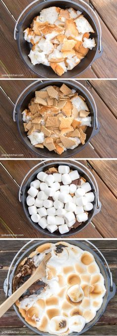 Oven S'Mores Cake Super easy recipe for Dutch Oven S'mores cake! Looks delicious!Super easy recipe for Dutch Oven S'mores cake! Looks delicious! Camping Desserts, Camping Meals, Camping Recipes, Camping Cooking, Backpacking Food, Outdoor Cooking Recipes, Camping Tips, Cooking Ideas, Camping Dishes