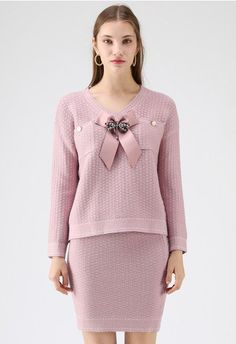 Timeless Elegance Knit Top and Skirt Set in Pink