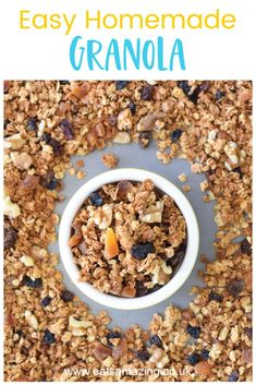 This easy homemade granola recipe makes a great fun and healthy breakfast for kids! With FREE printable child-friendly recipe sheet and step by step photos. Healthy Breakfast For Kids, Delicious Breakfast Recipes, Breakfast Ideas, Easy Granola Recipe, Kid Friendly Meals, Child Friendly, Food Garnishes, Kids Meals, Microwave