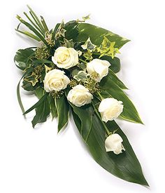 Funeral Sprays are a popular tribute expressing sympathy. Double ended Sprays sometimes referred to as Casket Sprays are often used to adorn a Casket with great splendour. Funeral Bouquet, Funeral Flowers, Wedding Flowers, Funeral Floral Arrangements, Church Flower Arrangements, Grave Flowers, Cemetery Flowers, Deco Floral, Arte Floral