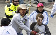 """Jeff Bauman helped ID the perps after waking up in the hospital from being helped to the hospital after the bombs blew off his legs. He stared one of the bombers right in the eyes before the blast as they """"dropped the bag right at his feet"""", his brother,Chris Bauman said. I'm amazed this man survived, and even more amazed that he woke up and ready/able to give that information right away."""