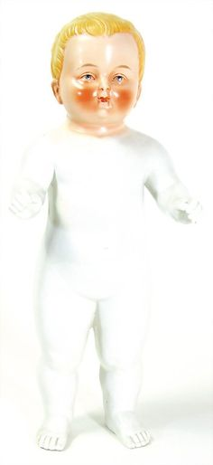 bathing doll, Frozen Charlie, 1880 - 1890, 470 mm, enameled porcelain, good condition, slightly worn at the buttcheeks and at the back of the head, a part of the sole was glued
