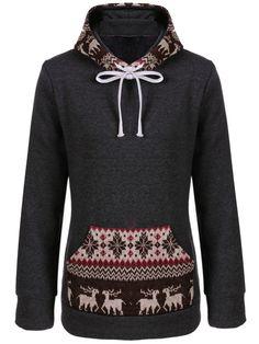 Kapuzen-Sweatshirt+mit+Schneeflocke-und+Hirschaufdruck-grau+18.00