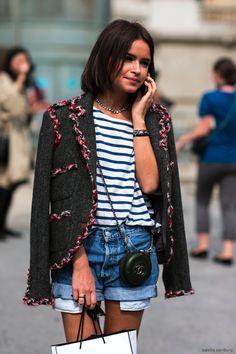 bob, tweed blazer, striped shirt, mini Chanel cross body bag & cuffed jean shorts