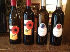 New Blends - Kyra Wines and Opal and Garnet label design by saranelsondesign.com