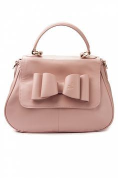 The Candy Bags Leather Handbag With Bow In Powder Pink