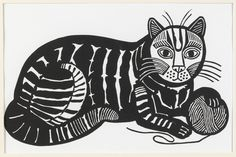 Edward Bawden - Cat and Ball of Wool/Play with Me, 1981 - Linocut [This is one of Bawden's most familiar images. It was originally produced for a wool company in 1981, and is also known as 'Play with me', which was handwritten in pencil onto a print. This is a later print made in 1991]