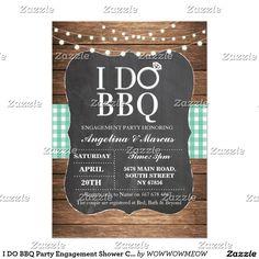 I DO BBQ Party Engagement Shower Chalk Mint Invite