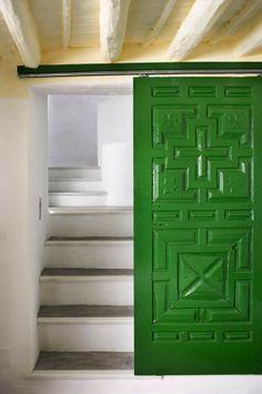 Emerald green sliding door.