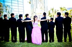 Quinceanera photo idea with Honor Court guys but with the guys looking over their shoulder at the camera