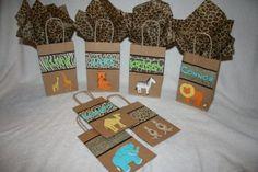 SAFARI ANIMAL THEME BIRTHDAY PARTY FAVOR BAGS by BecauseofBrenna, $18.00