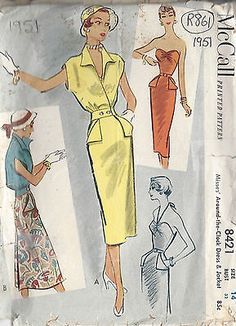 1951 Vintage Sewing Pattern B32 DRESS & JACKET (R861) in Crafts, Sewing & Fabric, Sewing | eBay