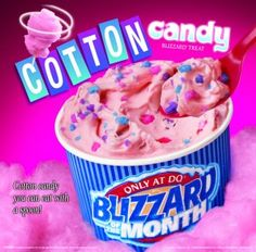 cotton candy blizzard--the best thing dairy queen ever made.wish they'd bring… Blizzard Recipe, Dq Blizzard, Dairy Queen Blizzard, Ice Cream Candy, Ice Cream Treats, Ice Cream Flavors, Ice Cream Recipes, Cotton Candy Blizzard, Candy Craze