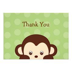 Mod Monkey Dots Flat Thank You Note Cards Custom Invite