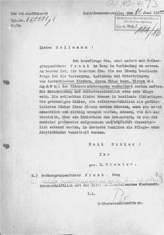 Reproduction of a letter written by Heinrich Himmler to Max Sollmann, director of the Lebensborn program, discussing options for dealing with the children of Lidice, Czecholoslovakia, whose parents were killed or deported to concentration camps in retaliation for the assassination of Reinhard Heydrich. Himmler discusses the necessity that special arrangements be made at the Lebensborn home for the Germanization of eight of the one hundred and five children deemed racially good. The letter…