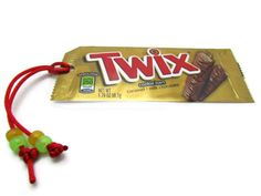 Twix Recycled, Upcycled Candy Wrapper Bookmark with glow-in-the-dark Stars handmade by @justByou
