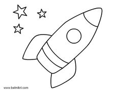 Rocket ship pattern. Use the printable outline for crafts