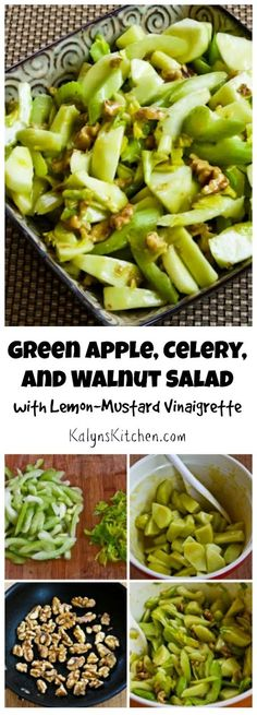 Green Apple, Celery, and Walnut Salad with Lemon-Mustard Vinaigrette is a perfect fall or winter salad, and this could be a fun side dish for a holiday meal! Healthy Salads, Healthy Nutrition, Healthy Eating, Healthy Recipes, Stay Healthy, Healthy Food, Nutrition Chart, Vitamix Recipes, Vegetarian