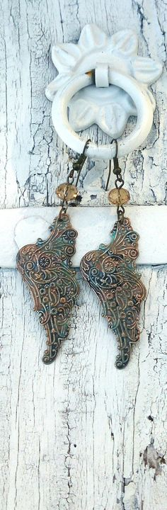 Angel Wing Patina Earrings by Secret Stash Boutique on Etsy