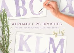 Watercolor PS Brush Set Alphabet by By Lef on @creativemarket