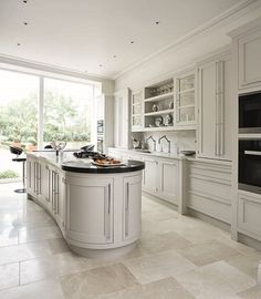 Create the perfect kitchen for entertaining with this contemporary shaker kitchen featuring statement island and glass fronted cabinetry. Rustic Kitchen Design, Best Kitchen Designs, Country Kitchen, New Kitchen, Kitchen Decor, Shaker Kitchen, Bespoke Kitchens, Luxury Kitchens, Cool Kitchens