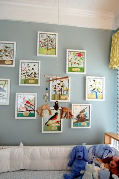 I love these pictures of birds on the wall