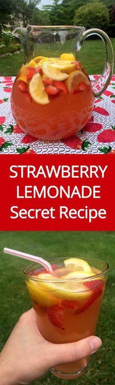 Homemade Strawberry Lemonade Recipe With Freshly Squeezed Lemons And Strawberry Slices | MelanieCooks.com